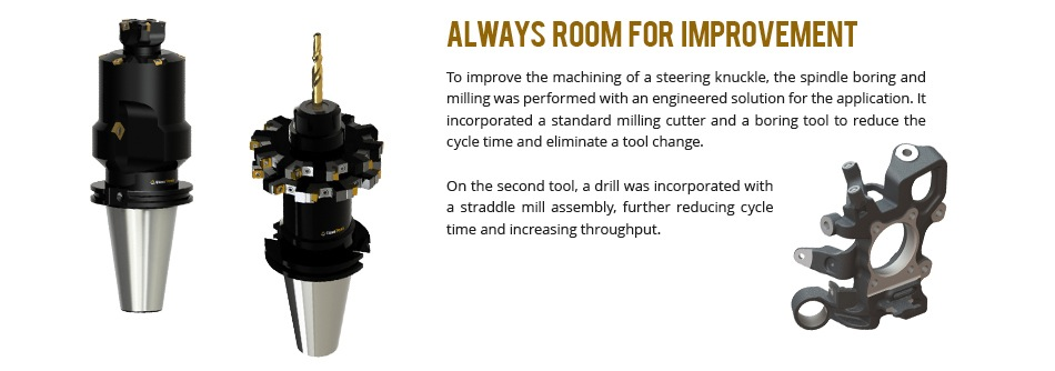 To improve the machining of a steering knuckle, the spindle boring and milling was performed with an engineered solution for the application. It incorporated a standard milling cutter and a boring tool to reduce the cycle time and eliminate a tool change.